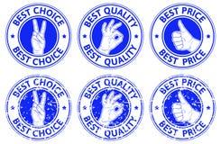 Sistema de insignias azules con símbolos del gesto de mano Fotografía de archivo