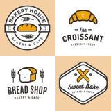 Sistema de insignias, de bandera, de etiquetas, de logotipos, de iconos, de objetos y de elementos para el pan de la tienda de la Imagenes de archivo