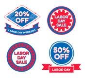 Sistema de insignias de la venta del Día del Trabajo Fotografía de archivo libre de regalías