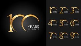 Sistema de insignias del aniversario Diseño de oro del emblema de la celebración del aniversario para el perfil de compañía, foll stock de ilustración
