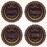 Sistema de insignias del vintage Lujo, premio, oro Imágenes de archivo libres de regalías