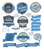 Sistema de insignias del vintage y de elementos del diseño Foto de archivo libre de regalías