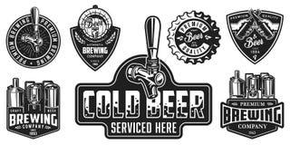 Sistema de insignias de la cerveza stock de ilustración