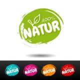 Sistema de insignias de la comida del vegano naturaleza 100% Etiquetas dibujadas mano del vector Ilustración del Vector