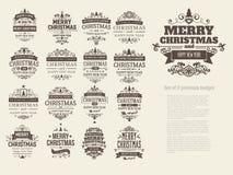 Sistema de 17 insignias retras de la Navidad del vintage libre illustration