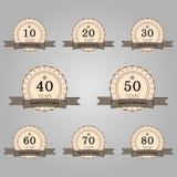 sistema de insignias retras del aniversario Foto de archivo