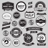 Sistema de insignias y de cintas del estilo del vintage stock de ilustración