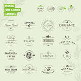 Sistema de insignias y de elementos de las etiquetas para el alimento biológico y la bebida stock de ilustración