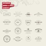 Sistema de insignias y de elementos de las etiquetas para el restaurante Foto de archivo libre de regalías
