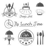 Sistema de insignias y de elementos de las etiquetas para el restaurante stock de ilustración