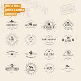 Sistema de insignias y de elementos de las etiquetas para la carne y la parrilla Imágenes de archivo libres de regalías