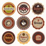 Sistema de insignias y de etiquetas de la panadería del vintage. Imagen de archivo libre de regalías