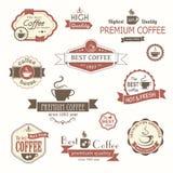 Sistema de insignias y de etiquetas del vintage del café stock de ilustración