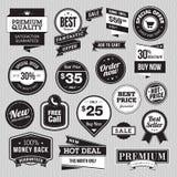 Sistema de insignias y de etiquetas engomadas para la venta ilustración del vector