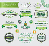 Sistema de insignias y de etiquetas orgánicas Foto de archivo libre de regalías