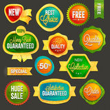 Sistema de insignias y de etiquetas stock de ilustración