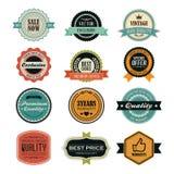 Sistema de insignias y de etiquetas retras del vintage Foto de archivo