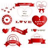 Sistema de insignias y del día rojos hermosos del ` s de la tarjeta del día de San Valentín de las banderas libre illustration