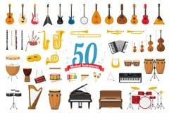 Sistema de 50 instrumentos musicales en estilo de la historieta aislados en el fondo blanco stock de ilustración