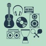 Sistema de instrumentos musicales en estilo plano del diseño Foto de archivo libre de regalías