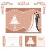 Sistema de invitaciones de boda ilustración del vector