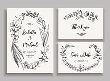 Sistema de invitaciones de boda con las hojas y las hierbas libre illustration