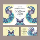 Sistema de invitaciones de boda de la invitación con los cisnes libre illustration