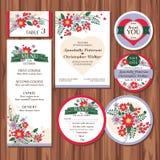 Sistema de invitaciones de boda florales Imagen de archivo libre de regalías