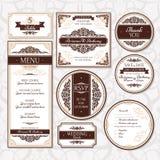 Sistema de invitaciones de boda florales Foto de archivo libre de regalías