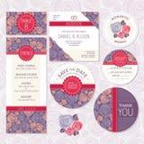 Sistema de invitaciones de boda florales ilustración del vector