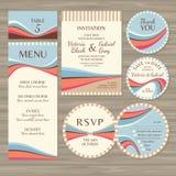 Sistema de invitaciones de boda retras Imágenes de archivo libres de regalías