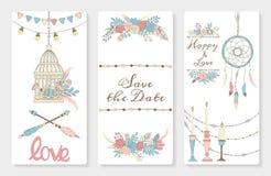 Sistema de invitaciones de la boda Imagen de archivo libre de regalías
