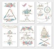 Sistema de invitaciones de la boda Imágenes de archivo libres de regalías
