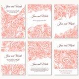 Sistema de invitaciones de la boda Plantilla de las invitaciones de boda con concepto individual Diseñe con los garabatos para la libre illustration