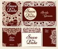 Sistema de invitaciones de la boda Plantilla de las invitaciones de boda con concepto individual Diseñe para la invitación, graci stock de ilustración