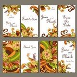 Sistema de invitaciones de la boda Plantilla de las invitaciones de boda con individu stock de ilustración