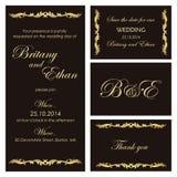 Sistema de invitaciones o de invitaciones de boda stock de ilustración