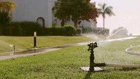 Sistema de irrigação molhando do sistema de extinção de incêndios Feche acima da vista filme