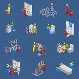 Sistema de Isometric People Icon del fontanero ilustración del vector