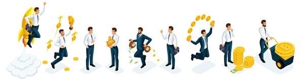 Sistema de Isometrics de los hombres de negocios, inversores, especuladores, jugadores de mercado financiero, banqueros, infraest libre illustration