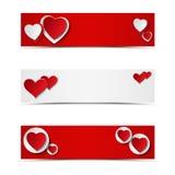 Sistema de jefes o de banderas de la tarjeta con los corazones Foto de archivo