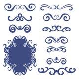 Sistema de jefes rizados abstractos azules, sistema de elemento del diseño aislado en el fondo blanco Foto de archivo libre de regalías