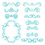 Sistema de jefes rizados abstractos azules, sistema de elemento del diseño aislado en el fondo blanco Foto de archivo
