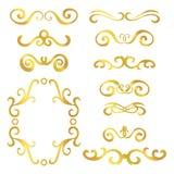 Sistema de jefes rizados del extracto del oro, sistema de elemento del diseño aislado en el fondo blanco libre illustration