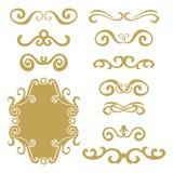 Sistema de jefes rizados del extracto del oro, sistema de elemento del diseño aislado en el fondo blanco stock de ilustración