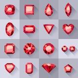 Sistema de joyas planas del rojo del estilo stock de ilustración