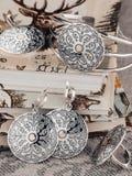 Sistema de joyería étnica de la plata del estilo Imagen de archivo