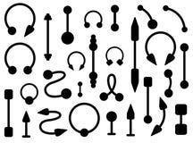 Sistema de joyería de las perforaciones del cuerpo siluetas Imágenes de archivo libres de regalías
