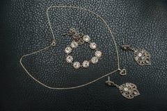 Sistema de joyería de plata de cadenas, de los anillos y de la pulsera Fotografía de archivo