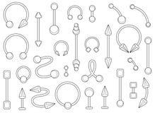 Sistema de joyería de plata de las perforaciones del cuerpo contorno Fotos de archivo
